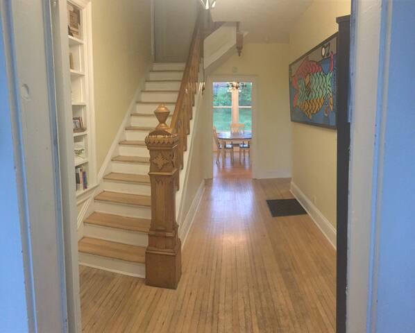 Original 1929 hardwood floors and banister.