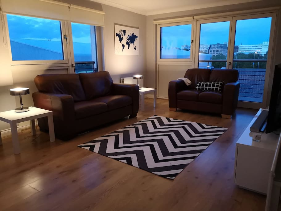 Spacious living room at night