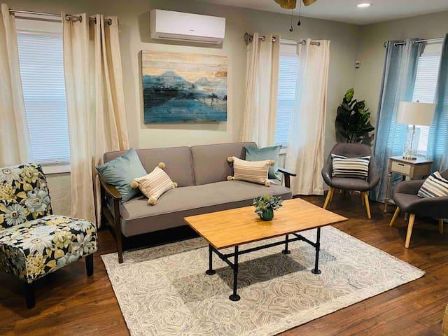Living Room Comfortable & Stylish Decor Mini Split A/C & Heating unit for your comfort  Sofa Bed