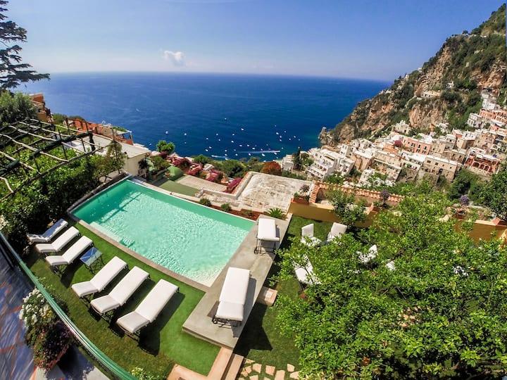 Villa Mimosa with Private Pool, Sea View, Air Conditioning, Positano Center