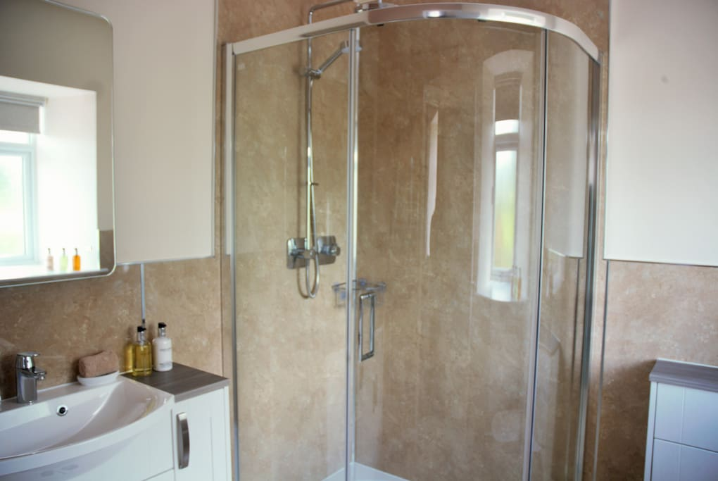 En-suite with with W.C, Shower cubicle and wash-hand basin