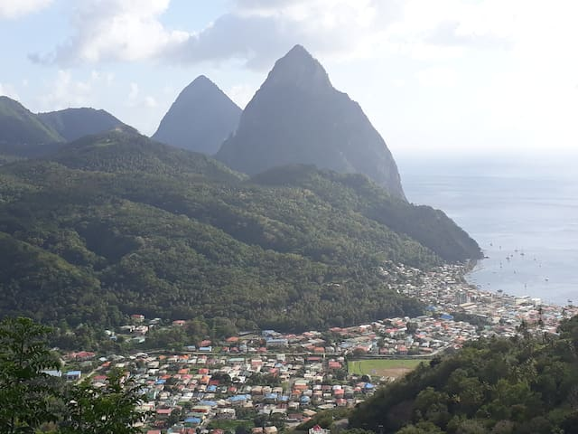 A scenic view of the Soufriere Town