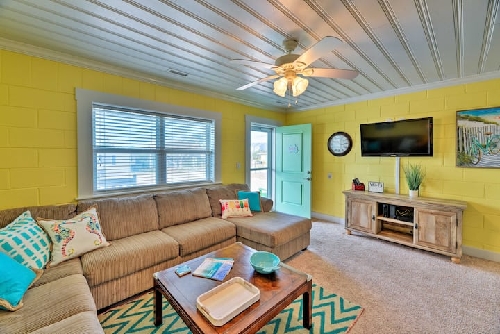 Colorful Cottage w/ Patio Across from the Beach!