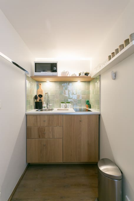 The kitchenette: fridge, sink, cooking and micro-wave amenities.