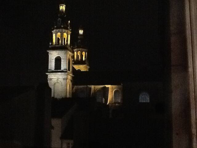 Private view on Nancy Cathedral from the Balcony (night )