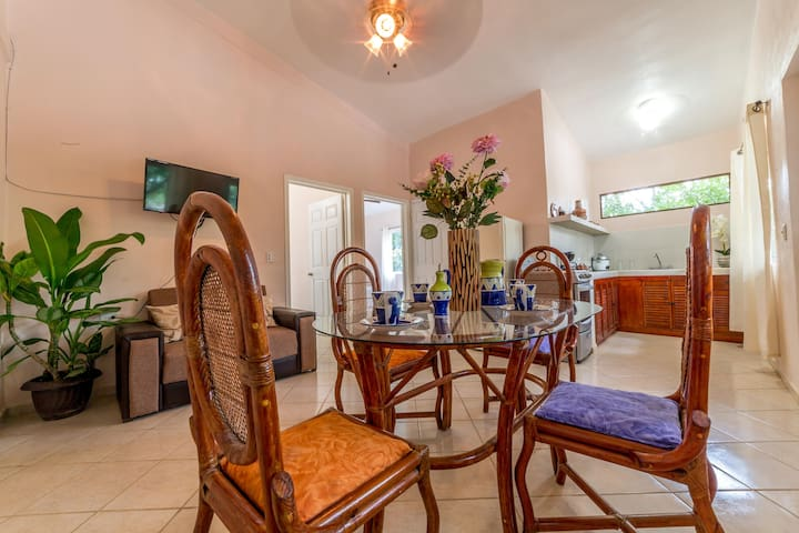 Mayan Suite  is located on 2nd floor of the property. It has a classic style gathered from local Mexican elements, traditions and culture. This unit is a perfect place for a family  and provides the space and comfort you need.