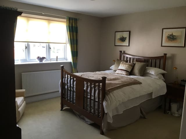 Double bedroom with tv and kettle for tea and coffee