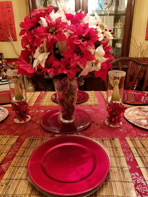 Formal dining table dressed up for the holidays