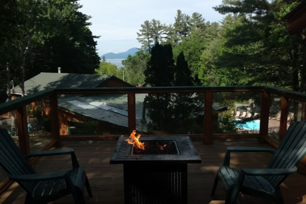 Gas fire pit overlooking views of Lake George and the mountains.