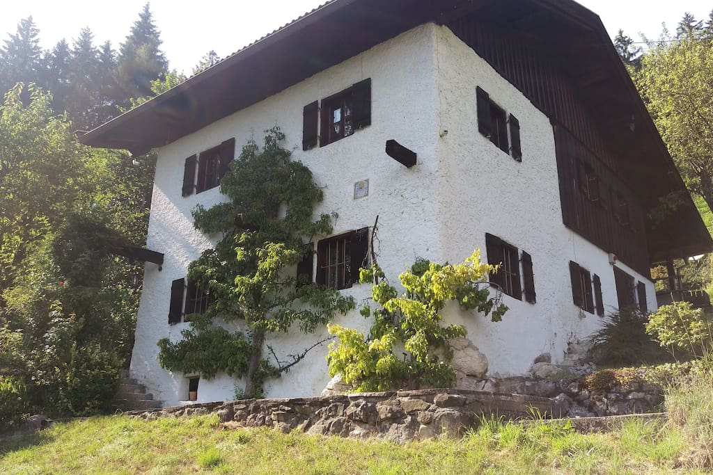 Haus vorne mit 2 Spalier-Birnbäumen