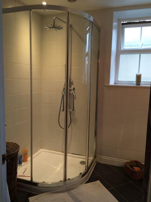 Modern ensuite bathroom with rain shower.