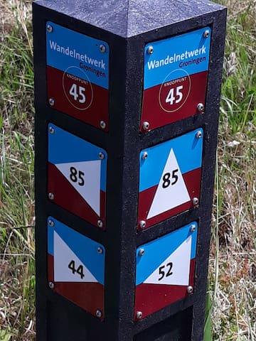 Wandelroute's van het wandelnetwerk Groningen op 100 mtr van het huis.