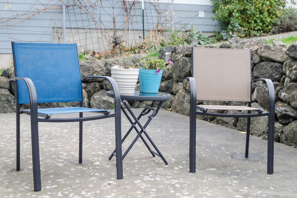 The back yard offers a relaxing area to kick up your feet and enjoy the sunshine.