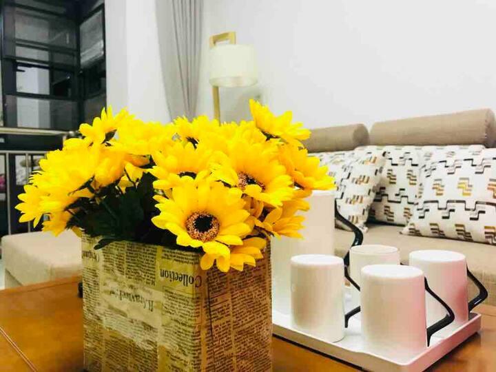 【sunflower】钦州市中心/星空文艺大两房/全新北欧品质精装/可做饭/超大落地窗