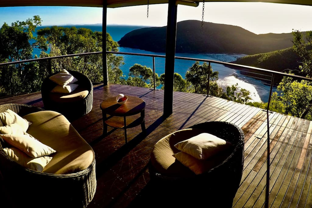 Relax on the spacious deck with incredible 180 degree views.