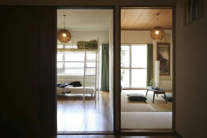 池袋から3分!最寄り駅から徒歩5分!和×洋のオシャレルーム! - Toshima-ku - Apartament