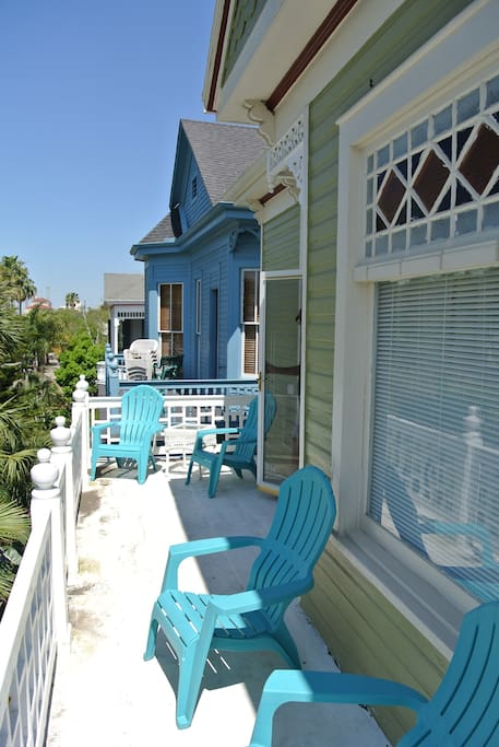 2nd story deck facing 25th st. Perfect for throwing and catching beads! 4 balconies.