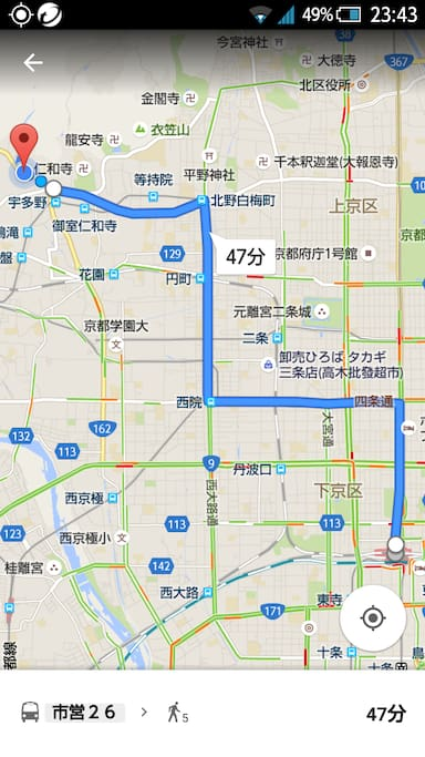 Map of transportation From JR Kyoto station to FUKUOJI bus stop