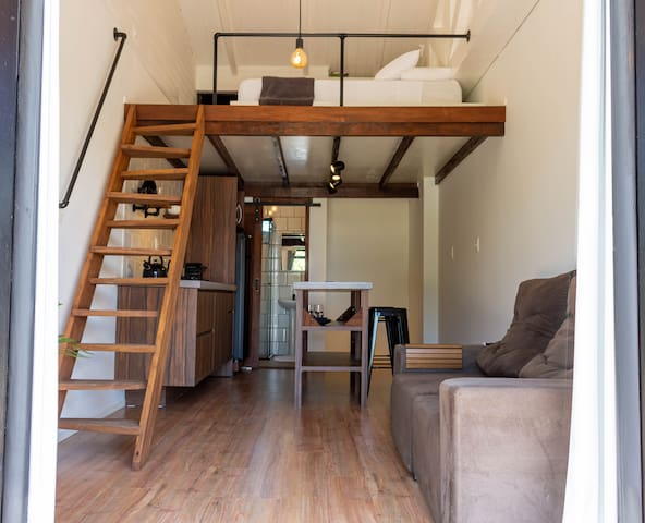 Loft muito aconchegante com estilo rústico