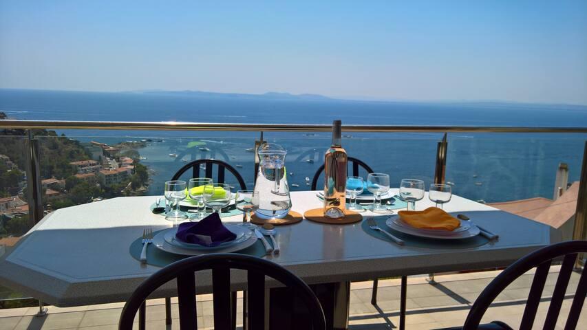 beautifull sea view, 2 rooms calm,  beach 8mn walk