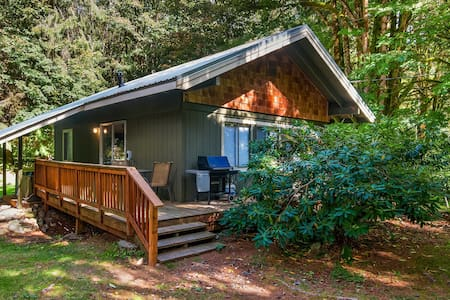 Charming cabin w/ covered hot tub & firepit - dogs welcome!