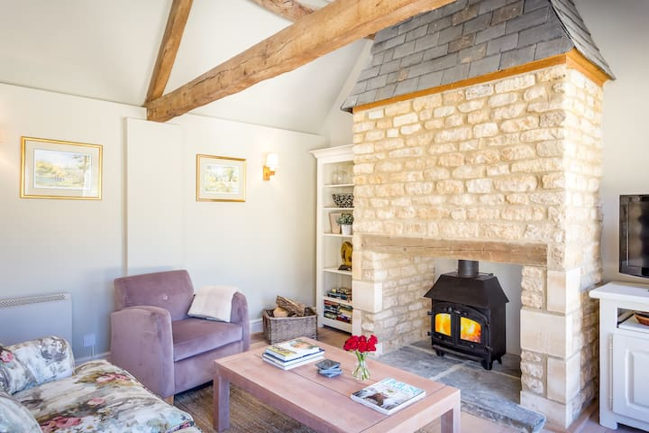 woodburner and seating area