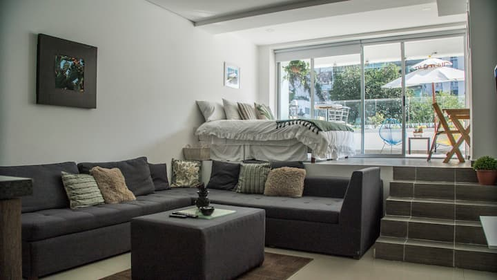 Loft amplio, Limpieza desinfectante, terraza