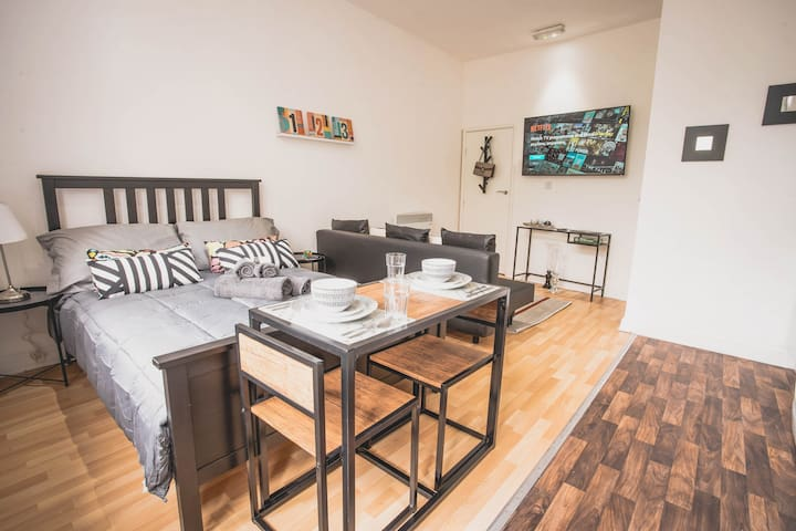 Luxe studio apartment that sleeps 4.