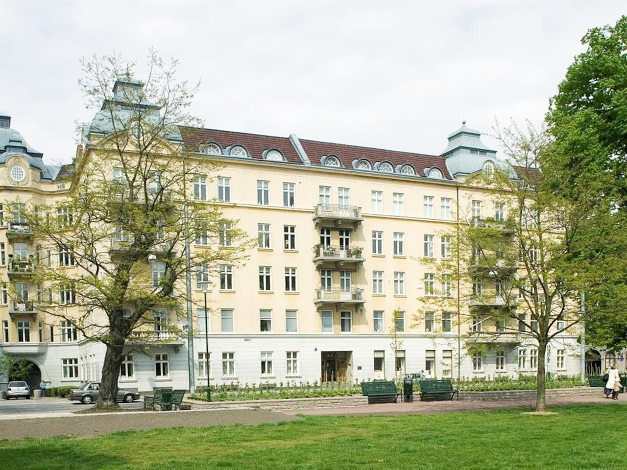 View from the park to the building