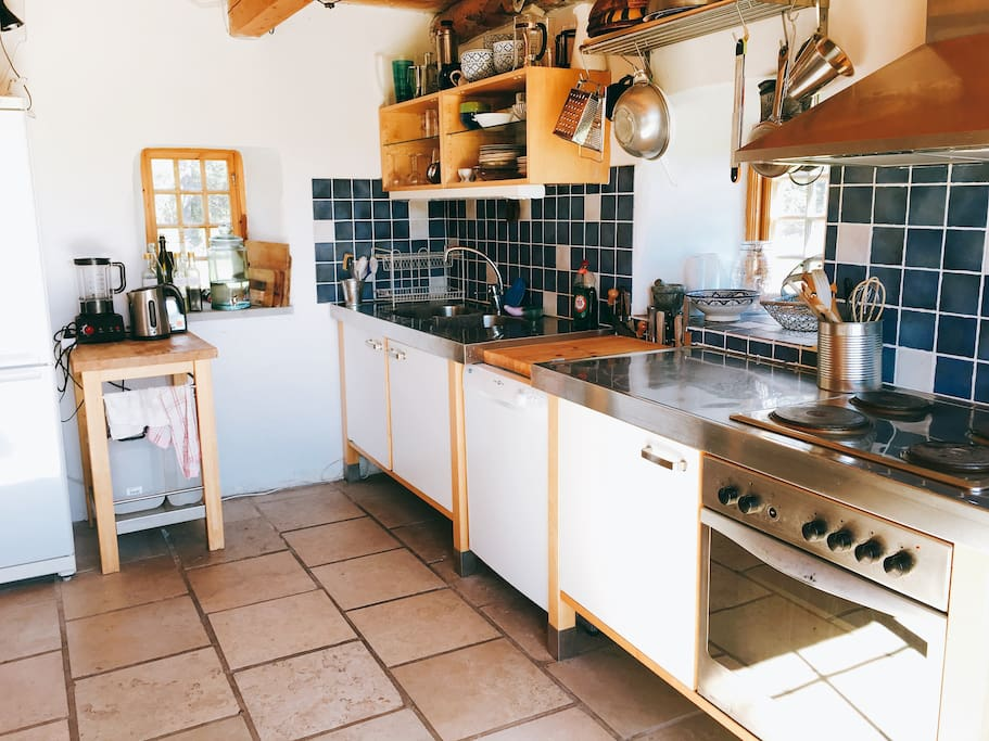 Kitchen is by the entrance, well-equipped kitchen (we love cooking).