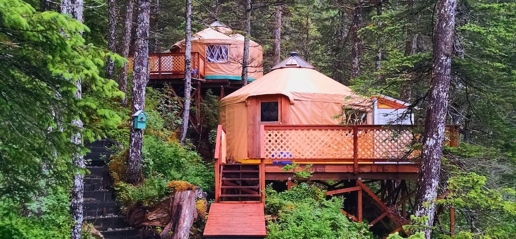 Yurt #1 in the foreground, Yurt #2 in the background. Reserve both for a couples getaway!