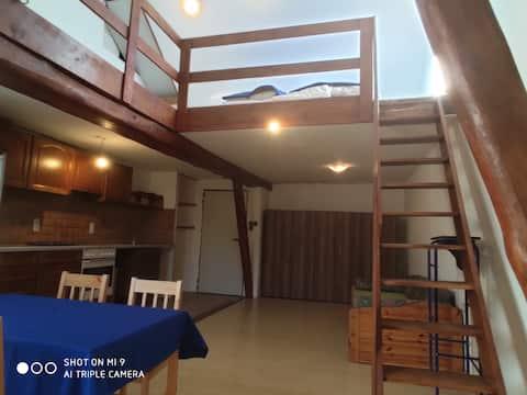 Tenne mit Wohnküche, sowie Stiege in Spitzboden wo noch 2 Matratzen möglich sind. Insgesamt auch als Notquartier für 6 Personen.