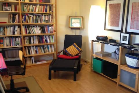 a reading nook in the living room
