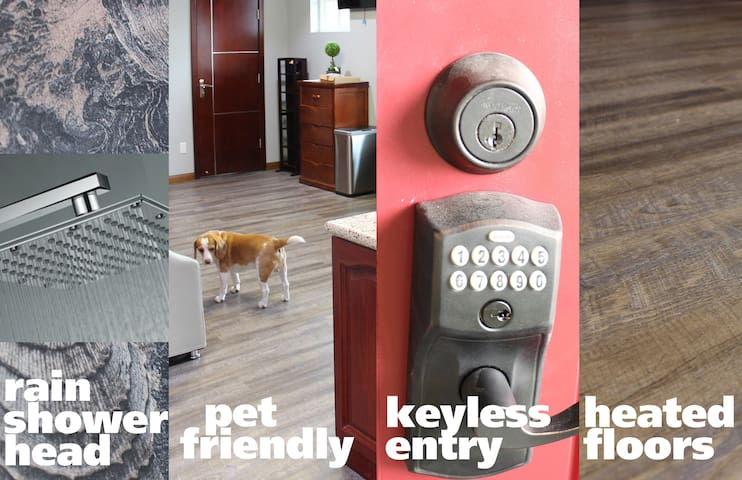 No need to arrange arrival time with the pin-pad based key; Heated floors throughout; We welcome guests with pets!