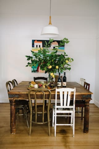 Indoor dining table seats up to 8 guests