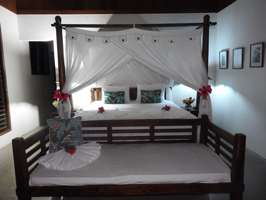 A King bed fit for... well, a King! Bedroom #1.