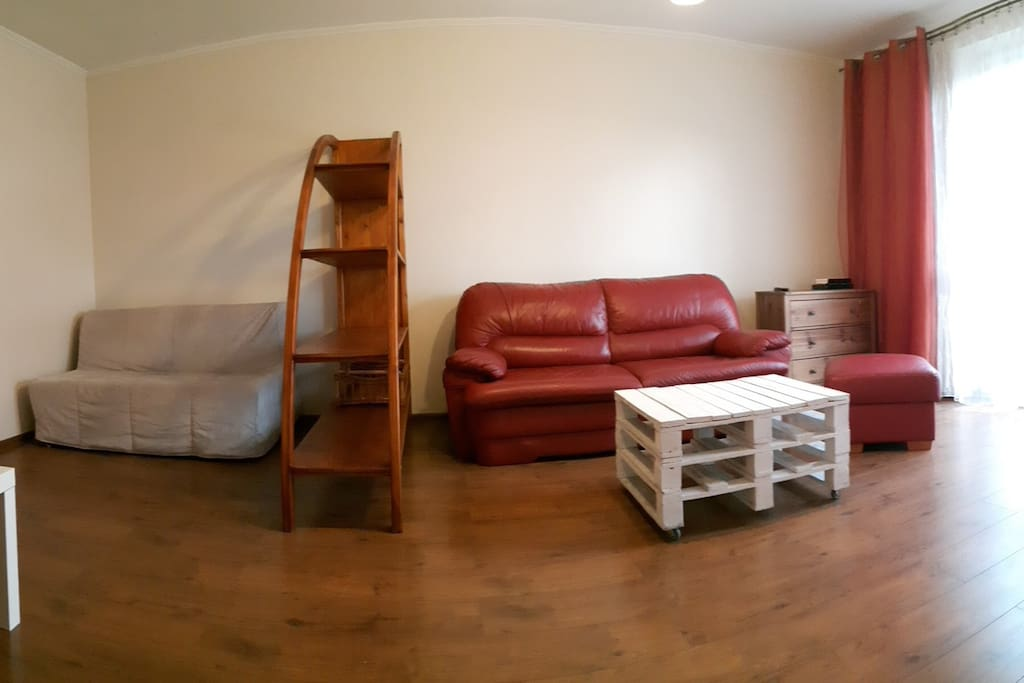 2 double sofas and a pouffe in the big room with