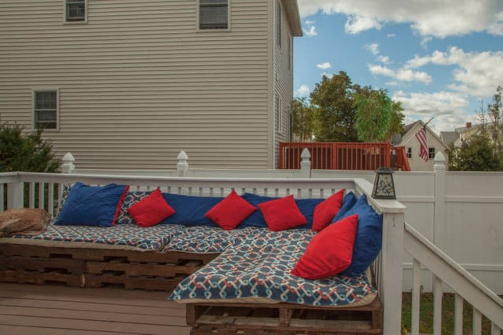 Kick back in our home built outdoor couches