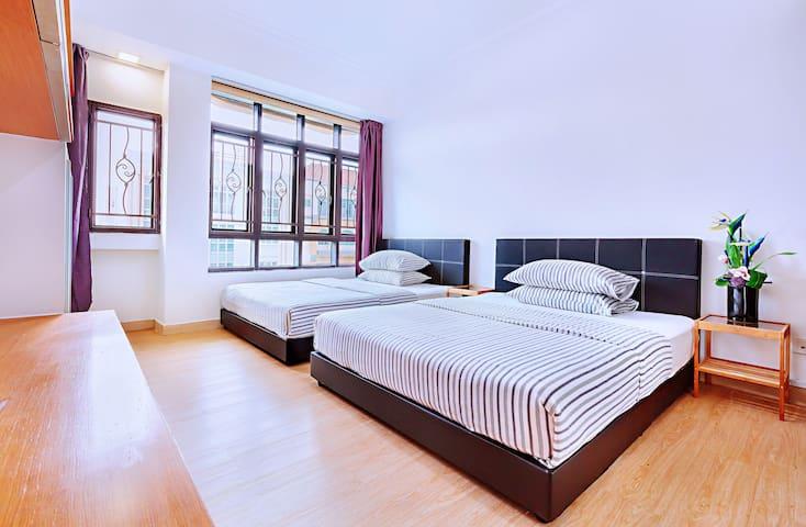 B2 Apt Room With 2 Queen beds Near City/MRT