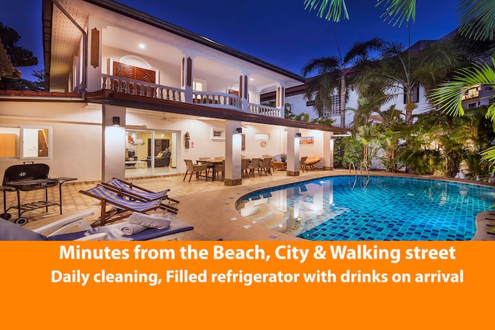★★★★★Villa Waree 5 min. Walking Street, Beach/City