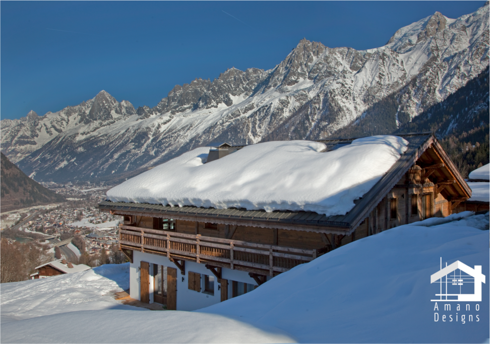 Chalet Norel and its view over the whole Chamonix Valley / Chalet Norel et sa vue dominante sur la Vallée de Chamonix