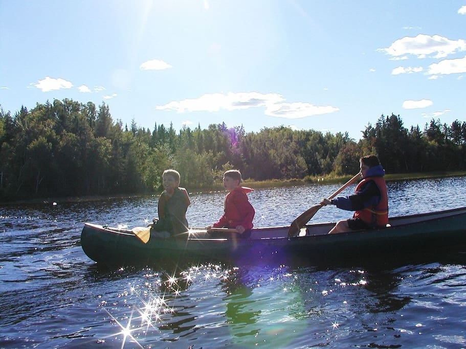 Paddle from your 400 feet of private wild shore on Angevine Lake. Canoe and row boat on site. Swimming amazing!