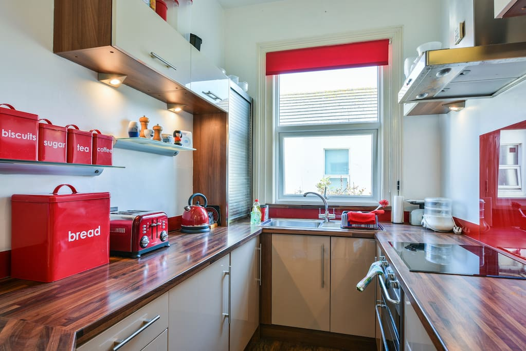 A fully equipped Smeg kitchen