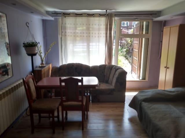 Mieszkanko z kuchnią, łazienką dwoma sypialniami.