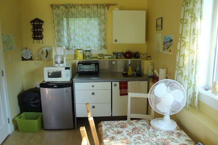 Kitchenette with microwave and toaster oven