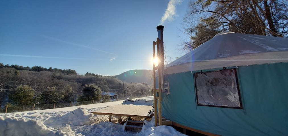 Yurt With River Views: main road, families welcome