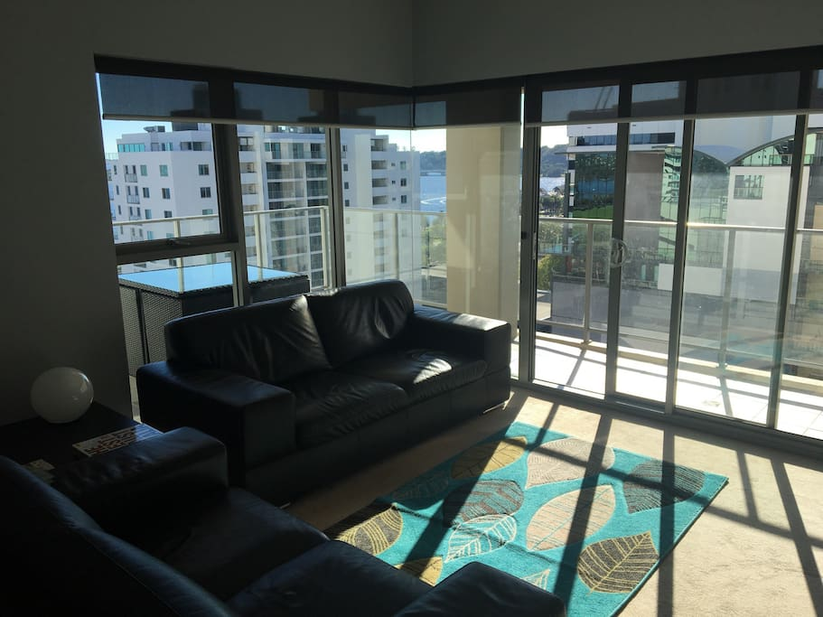 Living Area with Swan River Views