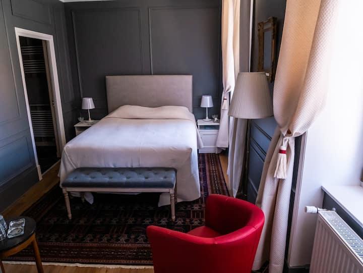 Queen-de Luxe-Salle de bain Privée-Vue sur le vignoble-chambre grise