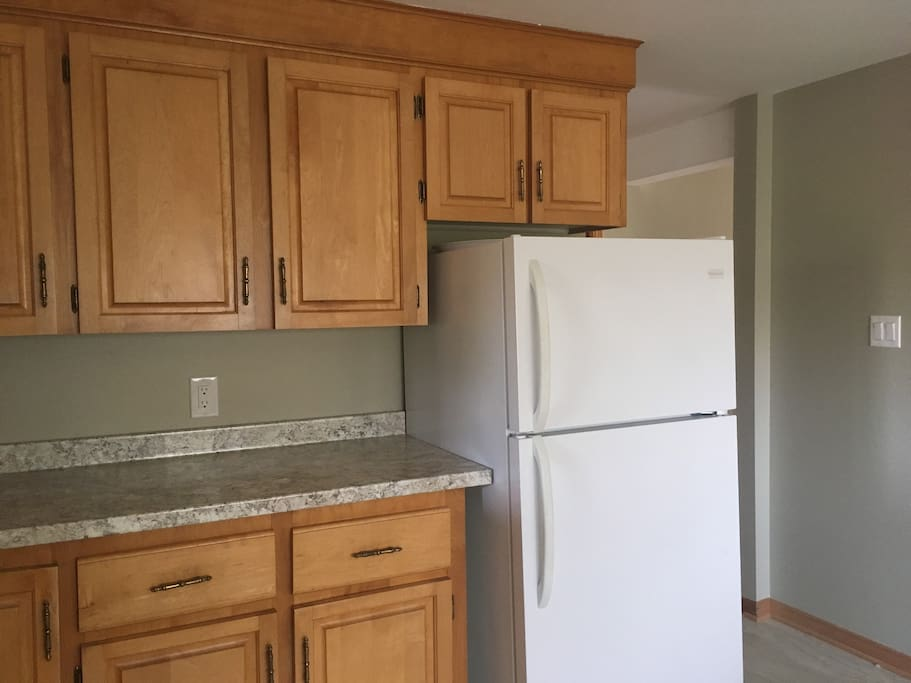 Lots of counter top and cupboards as well as a fridge with an ice maker.