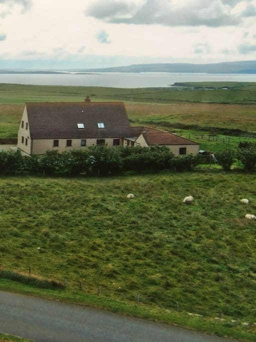 The Noust. The flat is on the end of the house with separate front door. Scapa flow in the distance with farm land and hills all around.